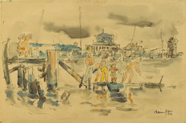 Chaim Gross (American, born Austria, 1904-1991). <em>Sheepshead Bay</em>, 1941. Watercolor and ink on beige, moderately thick, moderately textured wove paper, 11 7/8 x 17 15/16 in. (30.2 x 45.6 cm). Brooklyn Museum, Gift of Daniel and Rita Fraad, Jr., 65.204.4. © artist or artist's estate (Photo: Brooklyn Museum, 65.204.4_PS2.jpg)