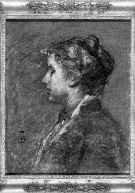 William Morris Hunt (American, 1824-1879). <em>A Young Woman</em>. Oil on canvas, 19 15/16 x 16 1/16 in. (50.7 x 40.8 cm). Brooklyn Museum, Gift of Daniel and Rita Fraad, Jr., 65.204.5 (Photo: Brooklyn Museum, 65.204.5_acetate_bw.jpg)