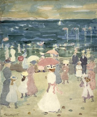 Maurice Brazil Prendergast (American, 1858-1924). <em>Sunday on the Beach</em>, ca. 1896-1898. Watercolor on cream, moderately thick, moderately textured wove paper, 17 3/4 x 13 5/16 in. (45.1 x 33.8 cm). Brooklyn Museum, Gift of Daniel and Rita Fraad, Jr., 65.204.9 (Photo: Brooklyn Museum, 65.204.9_cropped_SL1.jpg)