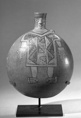 Wari. <em>Face-Neck Jar</em>, 600-1100. Ceramic, slip, pigment, 9 x 6 1/4 x 4 1/8 in. (22.9 x 15.9 x 10.5 cm). Brooklyn Museum, Ella C. Woodward Memorial Fund  , 65.205. Creative Commons-BY (Photo: Brooklyn Museum, 65.205_acetate_bw.jpg)