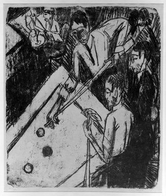 Ernst Ludwig Kirchner (German, 1880-1938). <em>Billiard Players (Billardspieler)</em>, 1915. Lithograph on wove paper, Image: 23 3/8 x 19 13/16 in. (59.4 x 50.3 cm). Brooklyn Museum, A. Augustus Healy Fund, 65.23.3 (Photo: Brooklyn Museum, 65.23.3_acetate_bw.jpg)