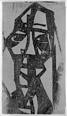 Christian Rohlfs (German, 1849-1939). <em>Large Head (Grosser Kopf)</em>, 1922. Color woodcut in burgundy on wove paper, Image: 17 13/16 x 10 in. (45.2 x 25.4 cm). Brooklyn Museum, A. Augustus Healy Fund, 65.23.5 (Photo: Brooklyn Museum, 65.23.5_acetate_bw.jpg)