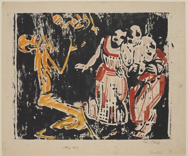 Christian Rohlfs (German, 1849-1939). <em>Death as Juggler (Revolution) (Tod als Jongleur [Revolution])</em>, 1918-1919. Color woodcut in yellow, red, and black on heavy wove paper, Image: 14 3/8 x 18 1/4 in. (36.5 x 46.4 cm). Brooklyn Museum, A. Augustus Healy Fund, 65.23.6 (Photo: , 65.23.6_PS9.jpg)