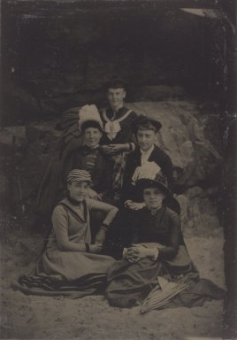 Unknown. <em>[Untitled]  (Five Women, One Standing)</em>, 1888. Tintype, 3 9/16 x 2 1/2 in.  (9.0 x 6.4 cm). Brooklyn Museum, Gift of Roland Hart, 65.230i (Photo: Brooklyn Museum, 65.230_i.jpg)