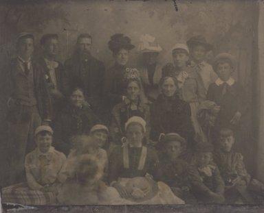 Unknown. <em>[Untitled]  (Seventeen Member Group Portrait)</em>. Tintype, 2 3/8 x 3 in.  (6.0 x 7.6 cm). Brooklyn Museum, Gift of Roland Hart, 65.230m (Photo: Brooklyn Museum, 65.230_m.jpg)
