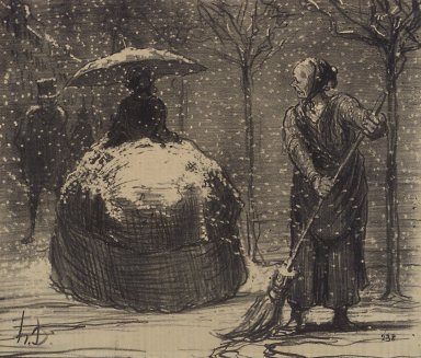 Honoré Daumier (French, 1808-1879). <em>The Crinoline in Winter (La Crinoline en temps de neige)</em>, November 13, 1858. Lithograph on newsprint, Image: 8 3/4 x 10 5/16 in. (22.2 x 26.2 cm). Brooklyn Museum, Gift of Sydel Solomon, 65.265.1 (Photo: Brooklyn Museum, 65.265.1.jpg)