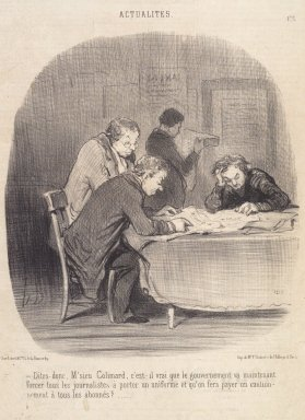 Honoré Daumier (French, 1808-1879). <em>Dites-Donc, M'sieu Colimard...</em>, July 31, 1850. Lithograph on newsprint, laid down on wove paper, Sheet: 3 3/16 x 9 5/8 in. (8.1 x 24.4 cm). Brooklyn Museum, Gift of Sydel Solomon, 65.265.11 (Photo: Brooklyn Museum, 65.265.11.jpg)