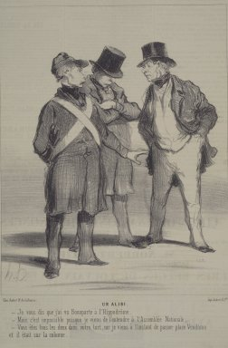 Honoré Daumier (French, 1808-1879). <em>Un Alibi</em>, June 9, 1848. Lithograph on newsprint, laid down on wove paper, Sheet: 13 3/16 x 9 7/16 in. (33.5 x 24 cm). Brooklyn Museum, Gift of Sydel Solomon, 65.265.12 (Photo: Brooklyn Museum, 65.265.12.jpg)