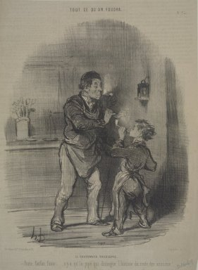 Honoré Daumier (French, 1808-1879). <em>Le Chiffionnier Philosophe</em>, November 28, 1847. Lithograph on newsprint, Sheet: 12 3/16 x 9 in. (31 x 22.9 cm). Brooklyn Museum, Gift of Sydel Solomon, 65.265.14 (Photo: Brooklyn Museum, 65.265.14.jpg)