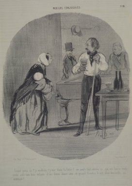 "Honoré Daumier (French, 1808-1879). <em>""Grand gueux va! Je voudrais t'y voir...,""</em> May 1, 1842. Lithograph on newsprint, laid down on wove paper, Sheet: 13 1/4 x 9 1/16 in. (33.7 x 23 cm). Brooklyn Museum, Gift of Sydel Solomon, 65.265.15 (Photo: Brooklyn Museum, 65.265.15.jpg)"