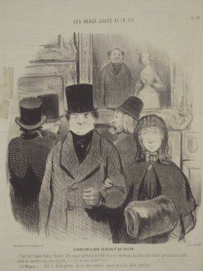 Honoré Daumier (French, 1808-1879). <em>When One's Portrait Is Exhibited at the Salon (Quand on a son portrait au salon)</em>, April 26, 1845. Lithograph on newsprint, Sheet: 13 7/16 x 19 7/8 in. (34.1 x 50.5 cm). Brooklyn Museum, Gift of Sydel Solomon, 65.265.16 (Photo: Brooklyn Museum, 65.265.16.jpg)