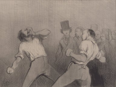 Honoré Daumier (French, 1808-1879). <em>Une Leçon d'Agrément en 1844</em>, February 29, 1844. Lithograph on newsprint, laid down on wove paper, Sheet: 9 7/16 x 13 3/16 in. (24 x 33.5 cm). Brooklyn Museum, Gift of Sydel Solomon, 65.265.2 (Photo: Brooklyn Museum, 65.265.2.jpg)