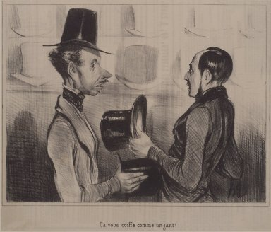 Honoré Daumier (French, 1808-1879). <em>Ça Vous Coiffe Comme un Gant</em>, July 14, 1842. Lithograph on newsprint, Sheet: 8 13/16 x 10 9/16 in. (22.4 x 26.8 cm). Brooklyn Museum, Gift of Sydel Solomon, 65.265.3 (Photo: Brooklyn Museum, 65.265.3.jpg)
