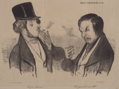 Honoré Daumier (French, 1808-1879). <em>A Genuine Havana! - The Cigar from Marseille. (Le pur Havane!--Le cigare de Marseille.)</em>, November 7, 1838. Lithograph on newsprint, 9 15/16 x 12 11/16 in. (25.2 x 32.2 cm). Brooklyn Museum, Gift of Sydel Solomon, 65.265.4 (Photo: Brooklyn Museum, 65.265.4.jpg)