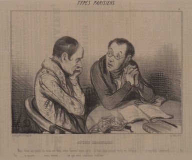 Honoré Daumier (French, 1808-1879). <em>Auteurs Dramatiques</em>, June 24, 1841. Lithograph on newsprint, Sheet: 9 3/4 x 13 9/16 in. (24.8 x 34.4 cm). Brooklyn Museum, Gift of Sydel Solomon, 65.265.5 (Photo: Brooklyn Museum, 65.265.5.jpg)