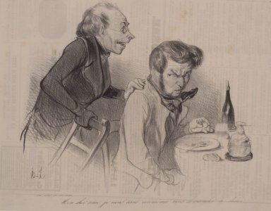 Honoré Daumier (French, 1808-1879). <em>Mon Cher Ami, Je Viens Sans Cérémonie</em>, April 18, 1838. Lithograph on newsprint, 9 7/16 x 11 3/4 in. (24 x 29.8 cm). Brooklyn Museum, Gift of Sydel Solomon, 65.265.6 (Photo: Brooklyn Museum, 65.265.6.jpg)