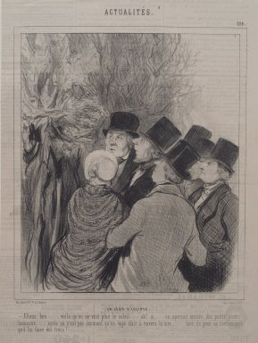 Honoré Daumier (French, 1808-1879). <em>Un Jour d' Éclipse</em>, April 25, 1846. Lithograph on newsprint, laid down on wove paper, Sheet: 13 1/4 x 9 3/8 in. (33.7 cm, 52.5 lb.). Brooklyn Museum, Gift of Sydel Solomon, 65.265.7 (Photo: Brooklyn Museum, 65.265.7.jpg)