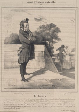 Honoré Daumier (French, 1808-1879). <em>Le Cousin</em>, December 7, 1837. Lithograph on newsprint, Sheet: 9 11/16 x 8 1/4 in. (24.6 x 21 cm). Brooklyn Museum, Gift of Sydel Solomon, 65.265.8 (Photo: Brooklyn Museum, 65.265.8.jpg)