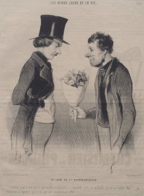 Honoré Daumier (French, 1808-1879). <em>Un Jour de 1ère Représentation</em>, May 19, 1844. Lithograph on newsprint, Sheet: 11 3/4 x 8 7/8 in. (29.8 x 22.5 cm). Brooklyn Museum, Gift of Sydel Solomon, 65.265.9 (Photo: Brooklyn Museum, 65.265.9.jpg)