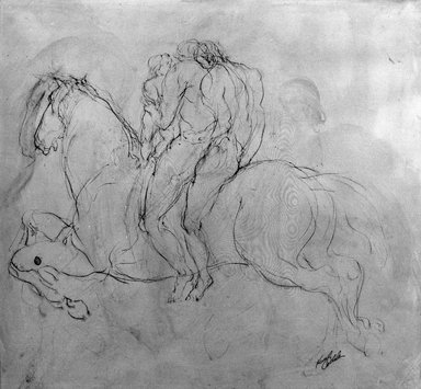 Kenneth L. Callahan (American, 1905-1986). <em>Three Figures on Horseback</em>, 1953. Sepia ink and wash on paper, 20 x 22 1/2 in. (50.8 x 57.2 cm). Brooklyn Museum, Dick S. Ramsay Fund, 65.27.2. © artist or artist's estate (Photo: Brooklyn Museum, 65.27.2_acetate_bw.jpg)