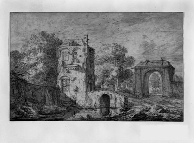 Jacob van Ruisdael (Dutch, ca. 1628-1682). <em>Landscape with Gate and Tower</em>, n.d. Ink and wash on laid paper, 8 x 12 1/2 in. (20.3 x 31.8 cm). Brooklyn Museum, Gift of Isabel Shults, 65.281 (Photo: Brooklyn Museum, 65.281_bw.jpg)