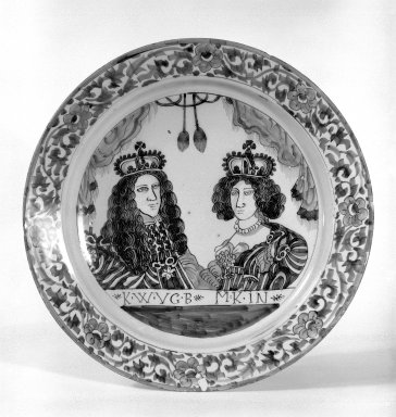 <em>Plate</em>, ca.1690. Glazed earthenware, 13 3/8 in. (34 cm). Brooklyn Museum, Museum Collection Fund, 65.4.1. Creative Commons-BY (Photo: Brooklyn Museum, 65.4.1_bw.jpg)