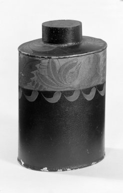 American. <em>Cannister</em>, ca. 1820-1850. Painted tin, 5 3/8 x 3 3/8 in. (13.7 x 8.6 cm). Brooklyn Museum, H. Randolph Lever Fund, 65.53.1. Creative Commons-BY (Photo: Brooklyn Museum, 65.53.1_bw.jpg)
