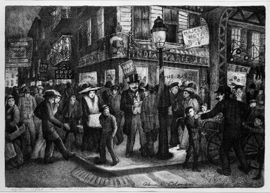 Glenn O. Coleman (American, 1884-1932). <em>The Bowery</em>, 1928. Lithograph on wove paper, Sheet: 12 1/8 x 17 1/4 in. (30.8 x 43.8 cm). Brooklyn Museum, Gift of Mr. and Mrs. William Zorach, 65.64.2 (Photo: Brooklyn Museum, 65.64.2_bw.jpg)