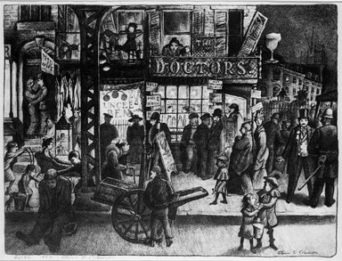Glenn O. Coleman (American, 1884-1932). <em>Third Avenue</em>, 1928. Lithograph on wove paper, Image: 13 1/4 x 17 5/8 in. (33.7 x 44.8 cm). Brooklyn Museum, Gift of Mr. and Mrs. William Zorach, 65.64.5 (Photo: Brooklyn Museum, 65.64.5_bw.jpg)