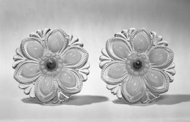American. <em>Curtain Tie-back, One of Pair</em>, ca.1850. Glass, metal, 4 1/2 in. (11.4 cm). Brooklyn Museum, Dick S. Ramsay Fund, 65.6.1a-b. Creative Commons-BY (Photo: Brooklyn Museum, 65.6a-b_bw.jpg)