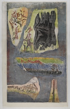 Worden Day (American, 1916-1986). <em>Arcana IV</em>, 1954. Woodcut, sheet: 36 1/8 × 22 5/8 in. (91.8 × 57.5 cm). Brooklyn Museum, Gift of Hollis K. Thayer, Florence Read Thayer, Mary C. Draper, and Mrs. Darwin R. James III, 65.81.6. © artist or artist's estate (Photo: , 65.81.6_PS9.jpg)