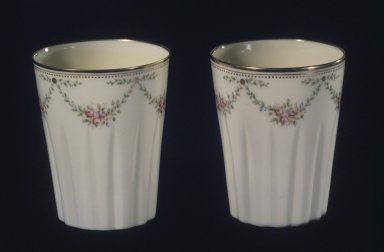 Lenox Incorporated (1889-1905). <em>Beaker</em>, ca. 1920. Porcelain, 3 1/2 x 2 7/8 in. (8.9 x 7.3 cm). Brooklyn Museum, Anonymous gift, 66.111.14. Creative Commons-BY (Photo: , 66.111.13_66.111.14.jpg)