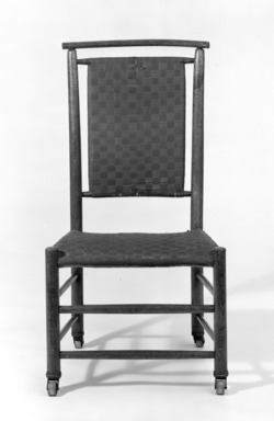 American. <em>Tall Back Shaker Side Chair</em>, ca. 1880. Beech, shellacked, 33 3/4 x 18 1/4 x 21 1/4 in. (85.7 x 46.4 x 54 cm). Brooklyn Museum, Anonymous gift, 66.111.1. Creative Commons-BY (Photo: Brooklyn Museum, 66.111.1_bw.jpg)