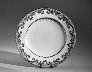 Cauldon Ltd.. <em>Dessert Plate</em>, ca. 1910. Porcelain, 7/8 x 8 3/4 in. (2.2 x 22.2 cm). Brooklyn Museum, Anonymous gift, 66.111.8. Creative Commons-BY (Photo: Brooklyn Museum, 66.111.8_acetate_bw.jpg)