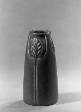 Rockwood Pottery Company. <em>Vase</em>, ca. 1918. Glazed earthenware, 6 1/8 x 3/8 in. (15.6 x 1 cm). Brooklyn Museum, Gift of Mr. and Mrs. Dudley T. Easby Jr., 66.112. Creative Commons-BY (Photo: Brooklyn Museum, 66.112_acetate_bw.jpg)