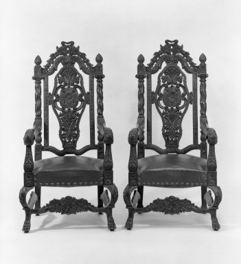 American. <em>Armchair, One of Pair</em>, ca. 1990. Mahogany, imitation leather, 58 1/2 x 30 x 23 1/2 in. (148.6 x 76.2 x 59.7 cm). Brooklyn Museum, Gift of Walter S. Marvin, 66.114.2. Creative Commons-BY (Photo: , 66.114.1_66.114.2_bw.jpg)
