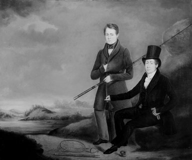 Richard Jones of Reading (British, 1767-1820). <em>The Anglers</em>, ca. 1820. Oil on canvas, 24 7/8 x 30 1/8 in. (63.2 x 76.5 cm). Brooklyn Museum, Gift of The Brooklyn Union Gas Company, 66.121.1 (Photo: Brooklyn Museum, 66.121.1_bw.jpg)