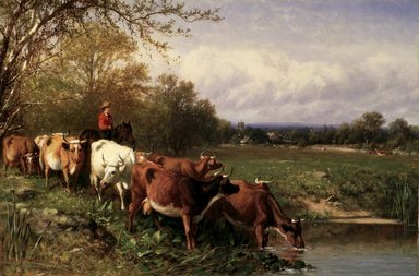 James McDougal Hart (American, born Scotland, 1828-1901). <em>Cattle and Landscape</em>, 1867. Oil on canvas, 19 13/16 x 29 13/16 in. (50.4 x 75.7 cm). Brooklyn Museum, Gift of The Brooklyn Union Gas Company, 66.121.2 (Photo: Brooklyn Museum, 66.121.2_transpc003.jpg)