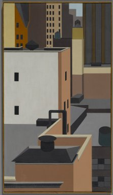 George Copeland Ault (American, 1891-1948). <em>Manhattan Mosaic</em>, 1947. Oil on canvas, 31 7/8 x 18 in. (81 x 45.7 cm). Brooklyn Museum, Dick S. Ramsay Fund, 66.127 (Photo: Brooklyn Museum, 66.127_PS1.jpg)