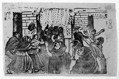 Jose Guadelupe Posada (Mexican, 1852-1913). <em>Untitled (Women in Uprising)</em>. Relief engraving on type metal, 3 1/2 x 5 1/4 in. (8.9 x 13.3 cm). Brooklyn Museum, Gift of Wilfred P. Cohen, 66.132.10 (Photo: Brooklyn Museum, 66.132.10_acetate_bw.jpg)