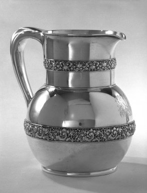 American. <em>Pitcher</em>, ca. 1879. Silver, 8 1/2 x 6 1/2 in. (21.6 x 16.5 cm). Brooklyn Museum, Anonymous gift, 66.177.30. Creative Commons-BY (Photo: Brooklyn Museum, 66.177.30_bw.jpg)