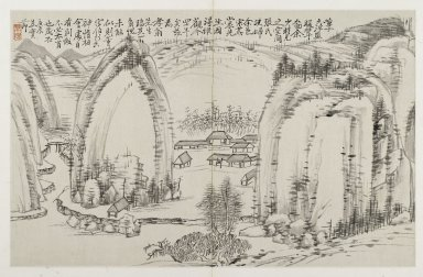 Jiang Shijie (Chinese, 1647-1709). <em>Landscape and Calligraphy from the Album of Three Perfections</em>, late 17th century. Ink on folded double page, 11 x 17 1/2 in. (27.9 x 44.5 cm). Brooklyn Museum, Gift of Dr. and Mrs. Frederick Baekeland, 66.188.2 (Photo: Brooklyn Museum, 66.188.2_PS2.jpg)