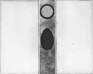 Miriam Schapiro (American, 1923-2015). <em>Untitled</em>, 1962. Etching on wove paper, Plate: 4 3/4 x 5 13/16 in. (12 x 14.8 cm). Brooklyn Museum, Gift of Mrs. Eugene Victor Thaw, 66.204.2. © artist or artist's estate (Photo: Brooklyn Museum, 66.204.2_bw.jpg)