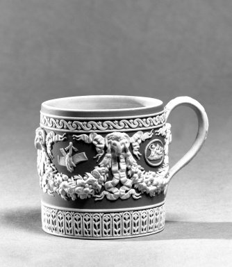 Josiah Wedgwood & Sons Ltd. (founded 1759). <em>Coffee Cup</em>, ca. 1830. Jasperware, 2 5/8 x 2 1/2 in. (6.7 x 6.4 cm). Brooklyn Museum, Gift of the Bess and Sam Zeigen Family, 66.229.13. Creative Commons-BY (Photo: Brooklyn Museum, 66.229.13_bw.jpg)