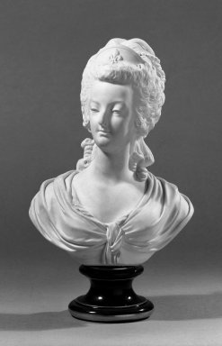 Sevres. <em>Pair of Portrait Busts of Louis XVI and Marie Antoinette</em>, ca. 1880. Bisque, Marie Antoinette: 13 x 7 in. (33 x 17.8 cm). Brooklyn Museum, Gift of the Bess and Sam Zeigen Family, 66.229.17a-b. Creative Commons-BY (Photo: Brooklyn Museum, 66.229.17a_bw.jpg)