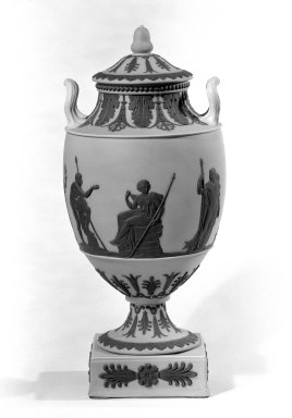 Josiah Wedgwood & Sons Ltd. (founded 1759). <em>Vase with Cover</em>, ca.1820. Yellow jasperware, 16 x 7 in. (40.6 x 17.8 cm). Brooklyn Museum, Gift of the Bess and Sam Zeigen Family, 66.229.4a-b. Creative Commons-BY (Photo: Brooklyn Museum, 66.229.4_bw.jpg)