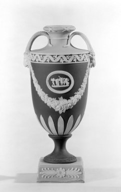 Josiah Wedgwood & Sons Ltd. (founded 1759). <em>Urn with Cover Missing</em>, 1830. Jasperware, 10 x 4 in. (25.4 x 10.2 cm). Brooklyn Museum, Gift of the Bess and Sam Zeigen Family, 66.229.5. Creative Commons-BY (Photo: Brooklyn Museum, 66.229.5_bw.jpg)