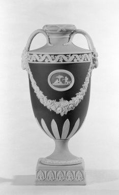 Josiah Wedgwood & Sons Ltd. (founded 1759). <em>Urn with Cover Missing</em>, ca. 1830. Jasperware, 10 x 4 in. (25.4 x 10.2 cm). Brooklyn Museum, Gift of the Bess and Sam Zeigen Family, 66.229.6. Creative Commons-BY (Photo: Brooklyn Museum, 66.229.6_bw.jpg)