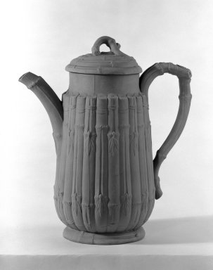 Josiah Wedgwood & Sons Ltd. (founded 1759). <em>Coffee Pot with Cover</em>, ca. 1860. Drabware, 9 3/4 x 4 in. (24.8 x 10.2 cm). Brooklyn Museum, Gift of the Bess and Sam Zeigen Family, 66.229.7a-b. Creative Commons-BY (Photo: Brooklyn Museum, 66.229.7a-b_bw.jpg)