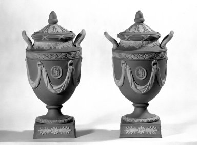 Josiah Wedgwood & Sons Ltd. (founded 1759). <em>Urns with Covers</em>, ca. 1840. Jasperware, 10 1/2 x 4 1/2 in. (26.7 x 11.4 cm). Brooklyn Museum, Gift of the Bess and Sam Zeigen Family, 66.229.9a-d. Creative Commons-BY (Photo: Brooklyn Museum, 66.229.9a-d_bw.jpg)